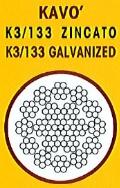 cavo acciaio k3/133 zincato