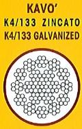 cavo acciaio k4/133 zincato