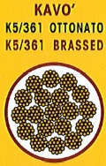 cavo acciaio k5/361 ottonato